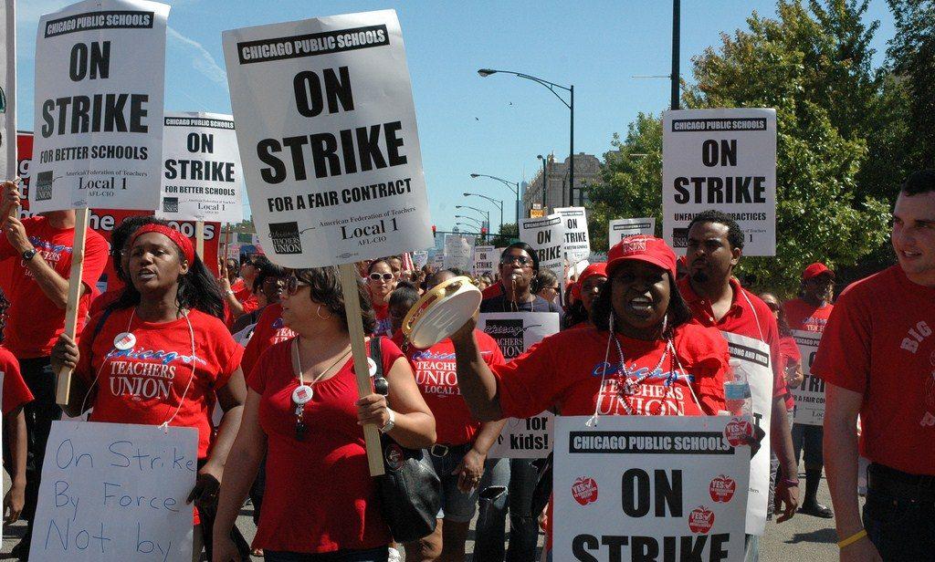 CTU members marching on strike.