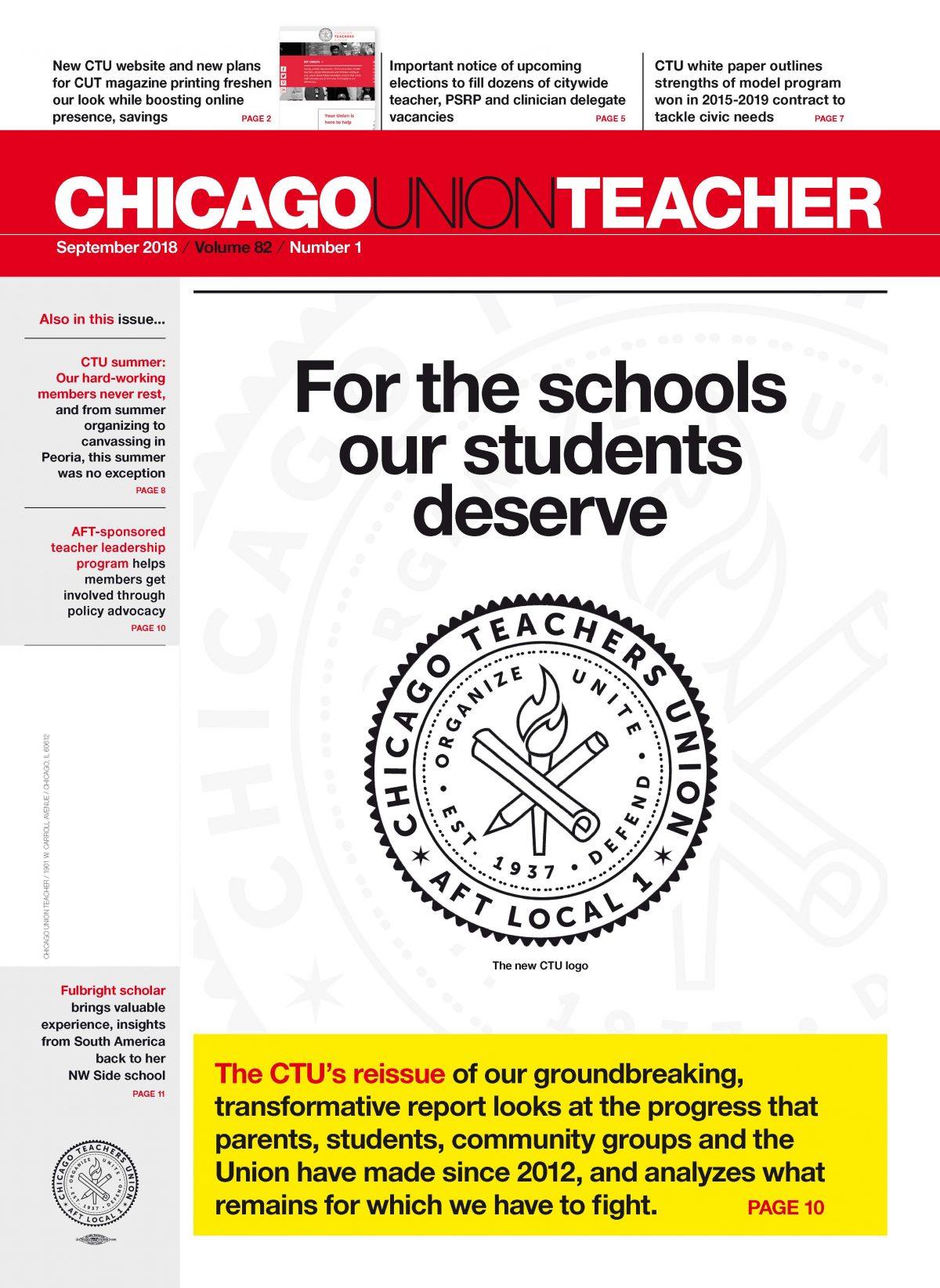 Cover of the September 2018 Chicago Union Teacher