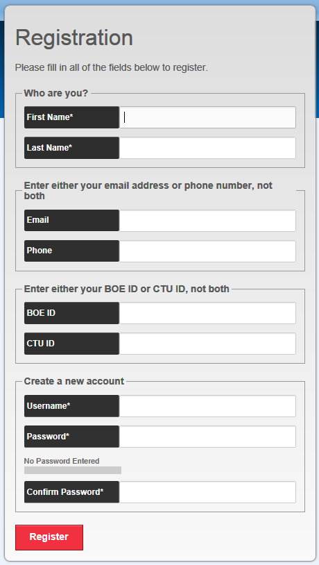 screenshot of the Registration page indicating all form fields on that page
