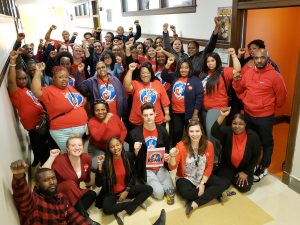 CTU educators rally at 10-23-18 CICS board meeting.
